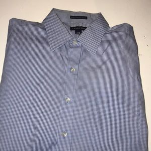 Lands' End White and Blue Dress Shirt